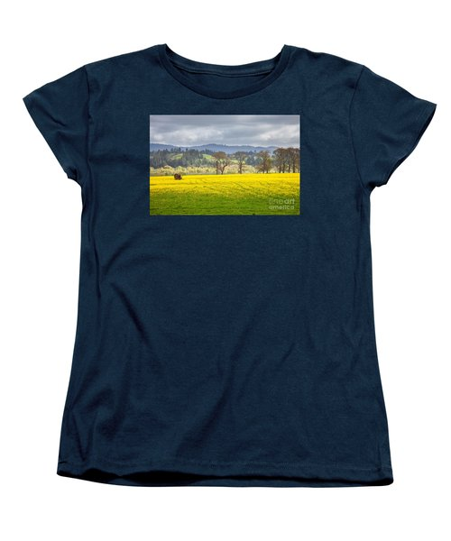 Yellow Fields Along The Eel River Women's T-Shirt (Standard Cut) by Mark Alder