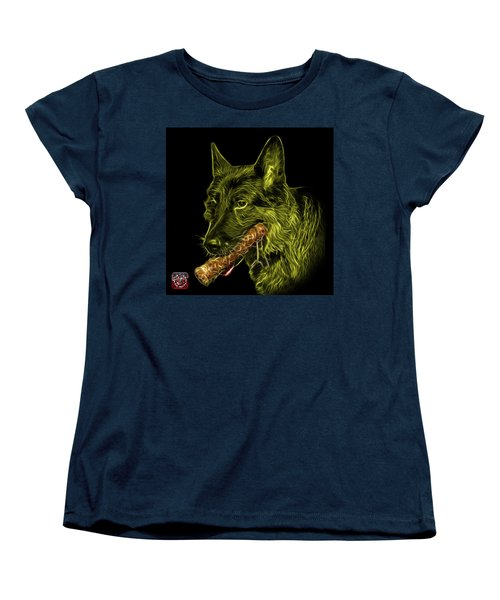 Women's T-Shirt (Standard Cut) featuring the digital art Yellow German Shepherd And Toy - 0745 F by James Ahn