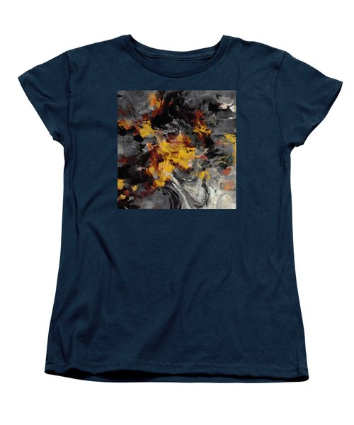 Women's T-Shirt (Standard Cut) featuring the painting Yellow / Golden Abstract / Surrealist Landscape Painting by Ayse Deniz