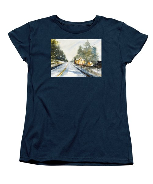 Yellow House On The Right Women's T-Shirt (Standard Cut) by Judith Levins