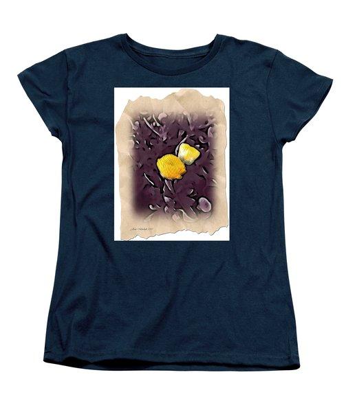 Women's T-Shirt (Standard Cut) featuring the photograph Yellow In Purple by Joan  Minchak