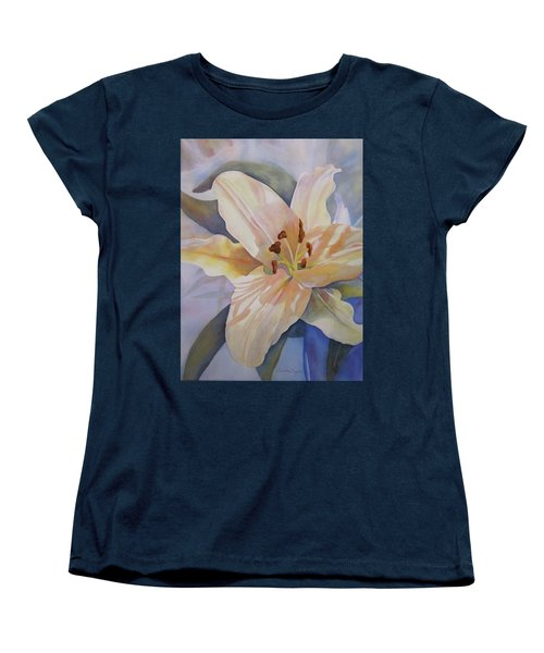 Yellow Lily Women's T-Shirt (Standard Cut) by Teresa Beyer