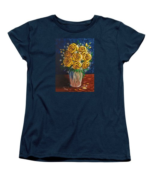 Women's T-Shirt (Standard Cut) featuring the painting Yellow Roses by Katherine Young-Beck