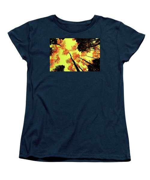 Women's T-Shirt (Standard Cut) featuring the photograph Yellow Sky, Burning Leaves by Kevin Munro