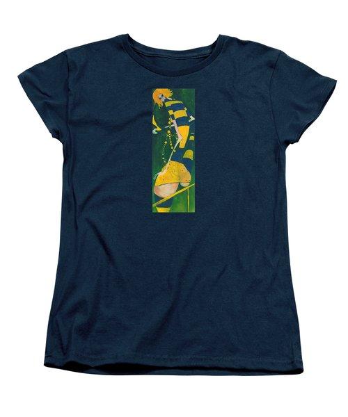 Women's T-Shirt (Standard Cut) featuring the painting Yellow Stripes by Maya Manolova