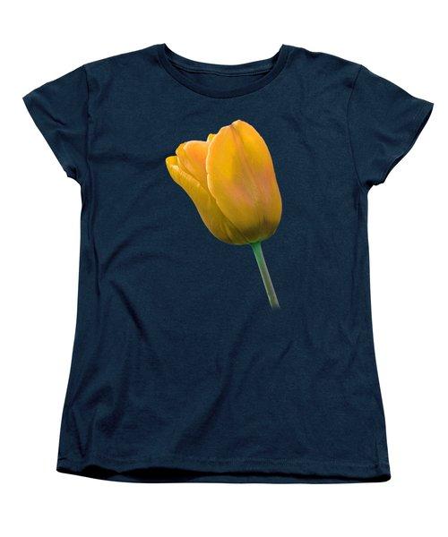 Yellow Tulip On Black Women's T-Shirt (Standard Cut) by Gill Billington