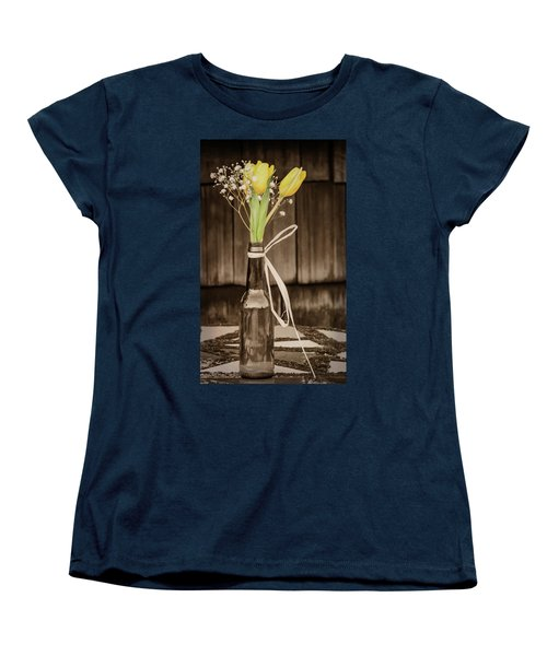 Yellow Tulips In Glass Bottle Sepia Women's T-Shirt (Standard Cut) by Terry DeLuco