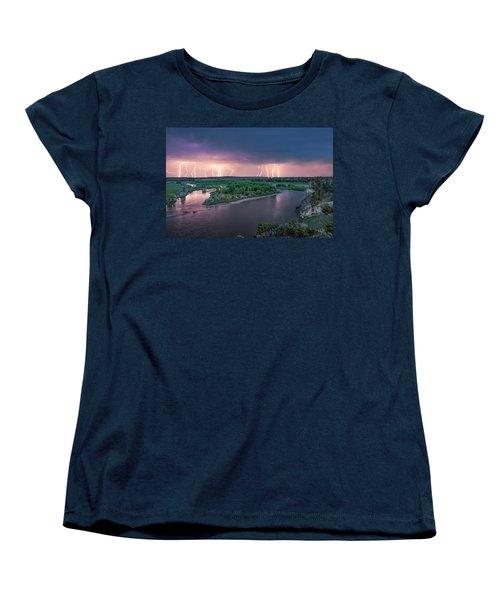 Yellowstone River Lightning Women's T-Shirt (Standard Cut) by Leland D Howard