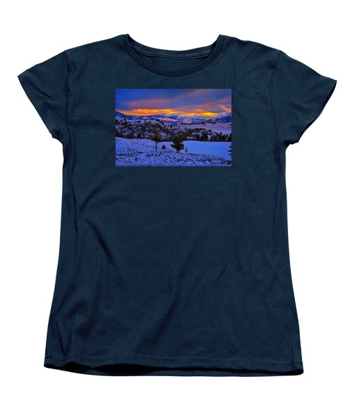 Yellowstone Winter Morning Women's T-Shirt (Standard Cut) by Greg Norrell