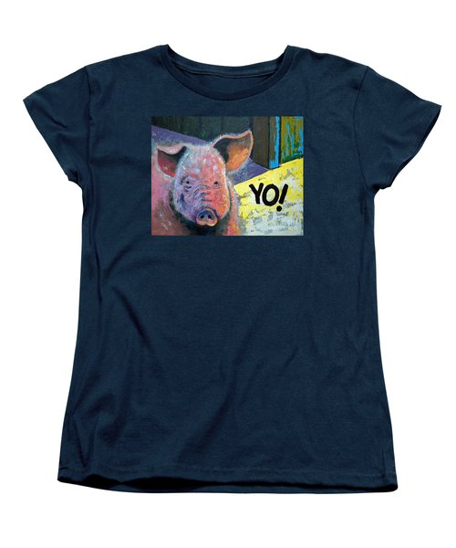 Women's T-Shirt (Standard Cut) featuring the painting Yo Pig by Suzanne McKee