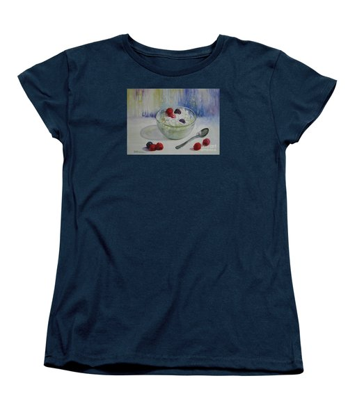 Women's T-Shirt (Standard Cut) featuring the painting Yoghurt Time by Elena Oleniuc