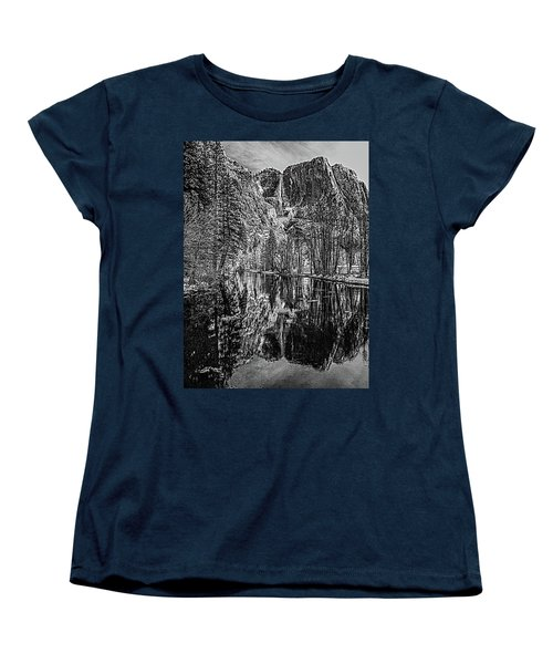 Women's T-Shirt (Standard Cut) featuring the photograph Yosemite Falls From The Swinging Bridge In Black And White by Bill Gallagher