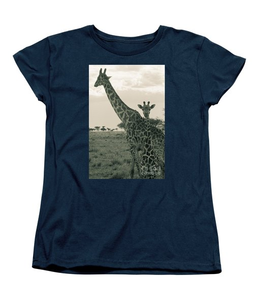 Young Giraffe With Mom In Sepia Women's T-Shirt (Standard Cut) by Darcy Michaelchuk