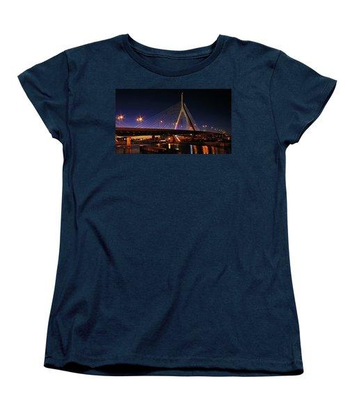 Zakim Bridge Boston Massachusetts At Night Women's T-Shirt (Standard Cut) by Betty Denise