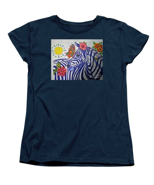 Women's T-Shirt (Standard Cut) featuring the painting Zebra And Things by Alison Caltrider