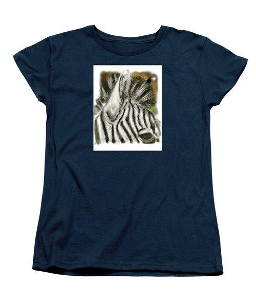 Zebra Digital Women's T-Shirt (Standard Cut) by Darren Cannell