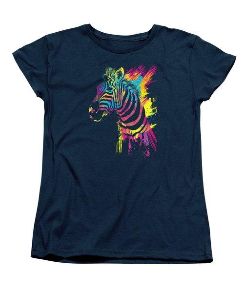 Zebra Splatters Women's T-Shirt (Standard Cut) by Olga Shvartsur