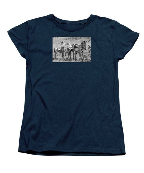 Women's T-Shirt (Standard Cut) featuring the photograph Zebras In Thought by Pravine Chester