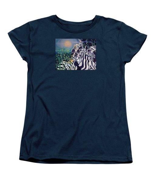 Zebras On The Savanna Women's T-Shirt (Standard Cut) by Julie Todd-Cundiff