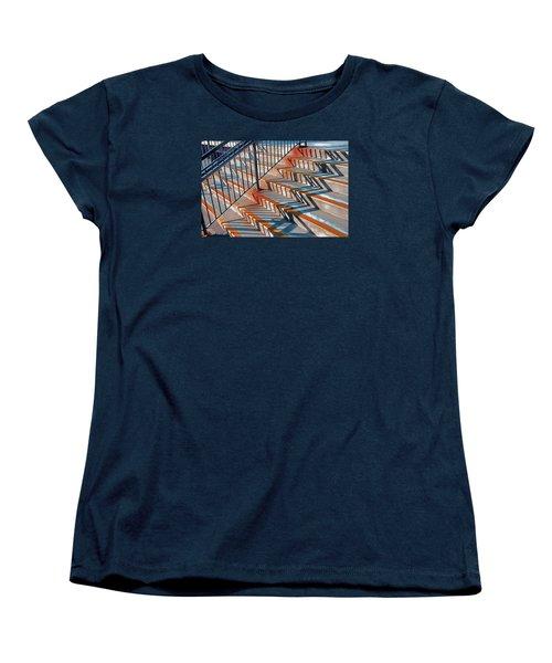 Zig Zag Shadows On Train Station Steps Women's T-Shirt (Standard Cut) by Gary Slawsky