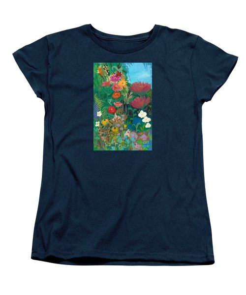 Zinnias Garden Women's T-Shirt (Standard Cut) by Robin Maria Pedrero