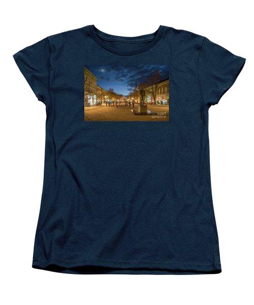 Zmaj Jovina Street In Moonlight Women's T-Shirt (Standard Cut) by Jivko Nakev