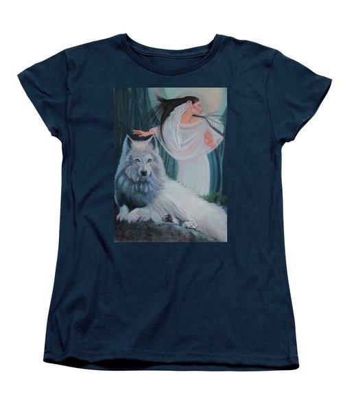 Zuni Maiden With Her White Wolf Women's T-Shirt (Standard Cut)