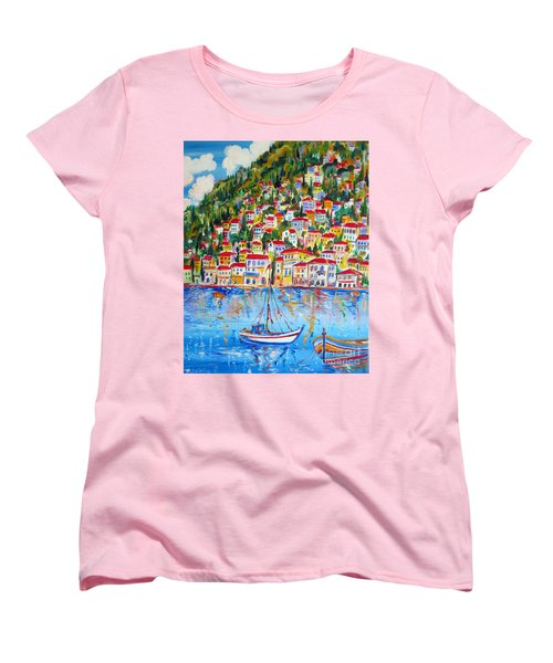 Women's T-Shirt (Standard Cut) featuring the painting  Boats Down South Italy Coast  by Roberto Gagliardi
