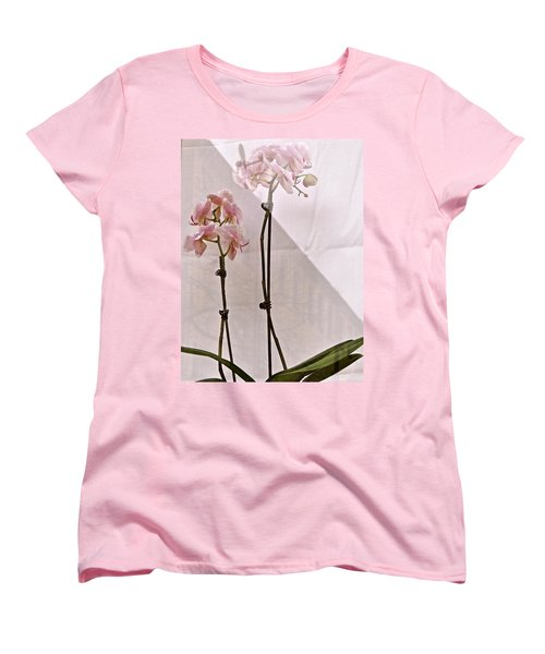 Women's T-Shirt (Standard Cut) featuring the photograph  Orchids In The Window by Ira Shander