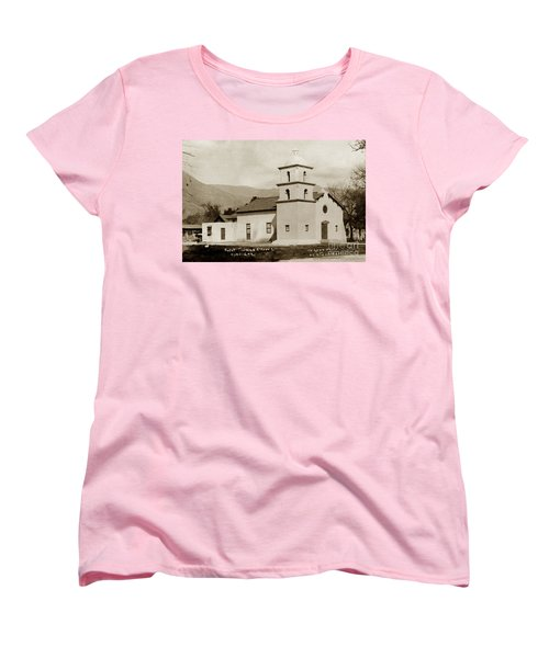 Women's T-Shirt (Standard Cut) featuring the photograph  St. Thomas Aquinas Catholic Church  Ojai Cal 1920 by California Views Mr Pat Hathaway Archives