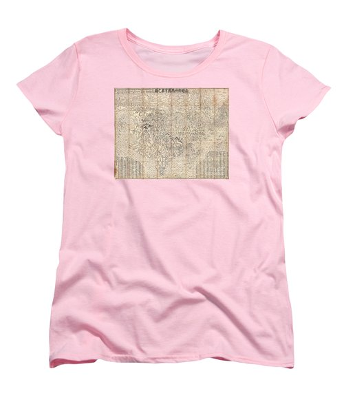 1710 First Japanese Buddhist Map Of The World Showing Europe America And Africa Women's T-Shirt (Standard Cut) by Paul Fearn