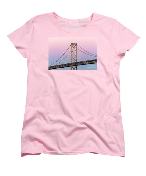 Bay Bridge Lights At Sunset Women's T-Shirt (Standard Cut) by Kate Brown