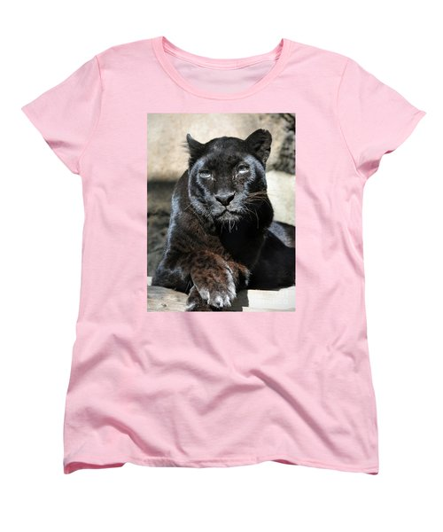 Black Leopard Women's T-Shirt (Standard Cut) by Savannah Gibbs