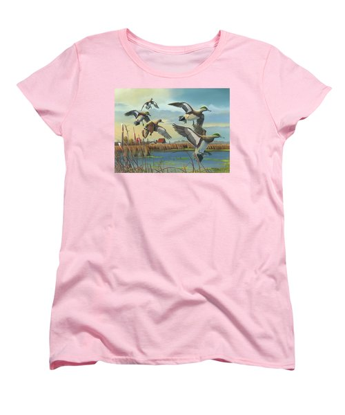 Women's T-Shirt (Standard Cut) featuring the painting Coming Home by Mike Brown