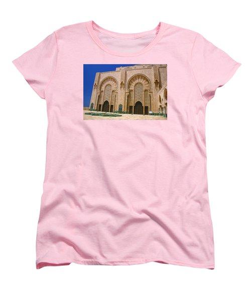 Women's T-Shirt (Standard Cut) featuring the photograph Hassan II Mosque Grand Mosque Sour Jdid Casablanca Morocco by Ralph A  Ledergerber-Photography