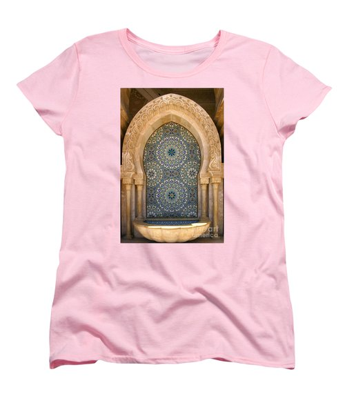 Women's T-Shirt (Standard Cut) featuring the photograph Holy Water Fountain Hassan II Mosque Sour Jdid Casablanca Morocco  by Ralph A  Ledergerber-Photography