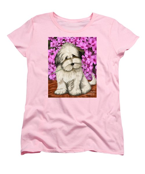 Women's T-Shirt (Standard Cut) featuring the painting Puppy In The Flowers by Tim Gilliland