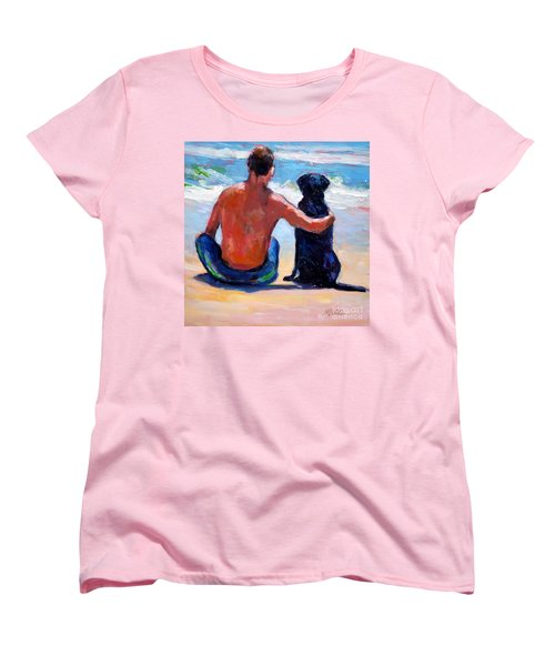 Women's T-Shirt (Standard Cut) featuring the painting Sand Sea You Me by Molly Poole