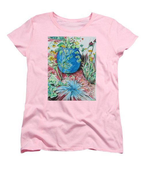 Women's T-Shirt (Standard Cut) featuring the painting The Blue Flower Pot by Esther Newman-Cohen