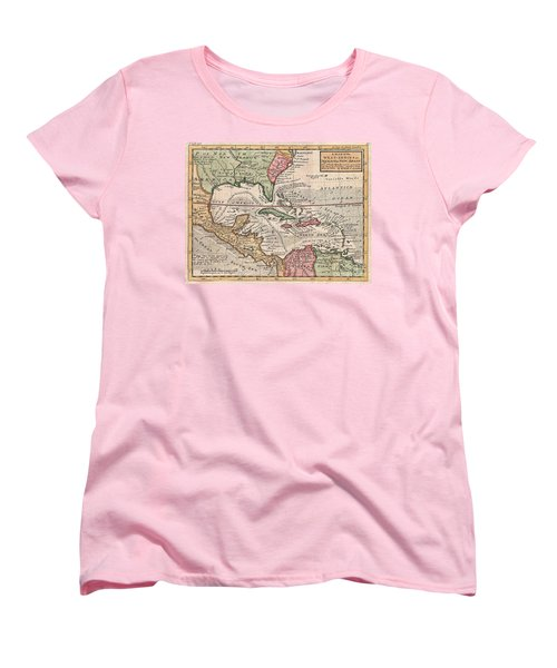 1732 Herman Moll Map Of The West Indies And Caribbean Women's T-Shirt (Standard Cut) by Paul Fearn