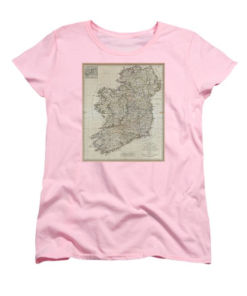 1804 Jeffreys And Kitchin Map Of Ireland Women's T-Shirt (Standard Cut) by Paul Fearn