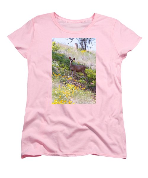 Women's T-Shirt (Standard Cut) featuring the photograph Deer In Wildflowers by Athena Mckinzie