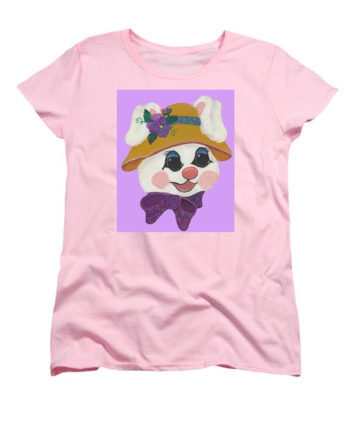 Women's T-Shirt (Standard Cut) featuring the painting Funny Bunny by Barbara McDevitt