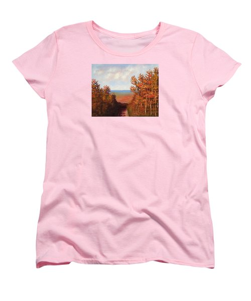 Women's T-Shirt (Standard Cut) featuring the painting Mountain View by Jason Williamson