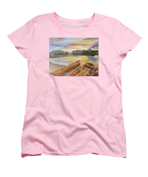 Women's T-Shirt (Standard Cut) featuring the painting Sunset Over Serenity Lake by Mary Ellen Anderson