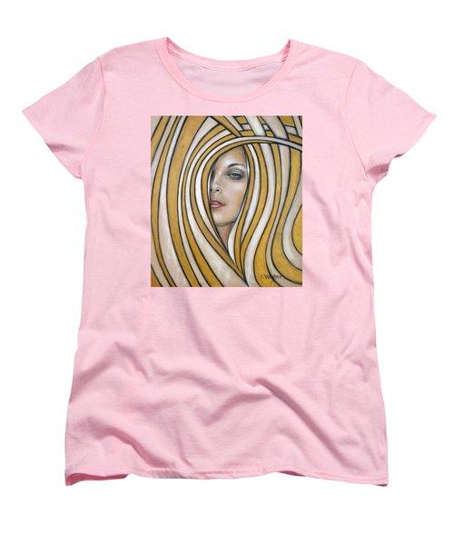 Women's T-Shirt (Standard Cut) featuring the painting Golden Dream 060809 by Selena Boron