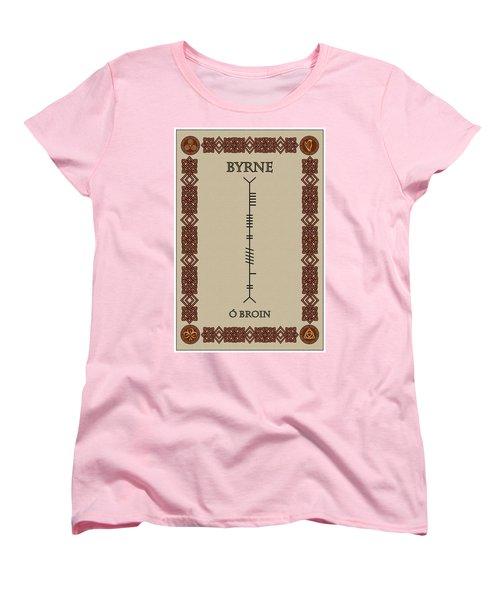 Women's T-Shirt (Standard Cut) featuring the digital art Byrne Written In Ogham by Ireland Calling