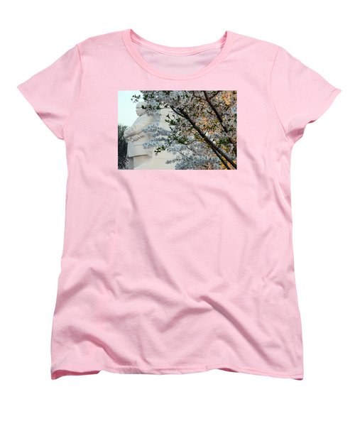Women's T-Shirt (Standard Cut) featuring the photograph A Cherry Blossomed Martin Luther King by Cora Wandel