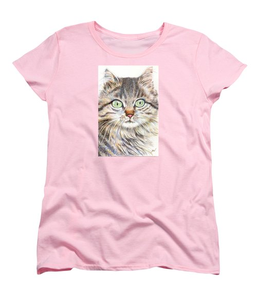 Women's T-Shirt (Standard Cut) featuring the drawing A Handsome Cat  by Jingfen Hwu