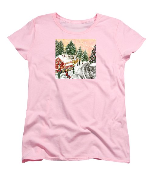 Women's T-Shirt (Standard Cut) featuring the painting A Magical Frost by Lori  Lovetere